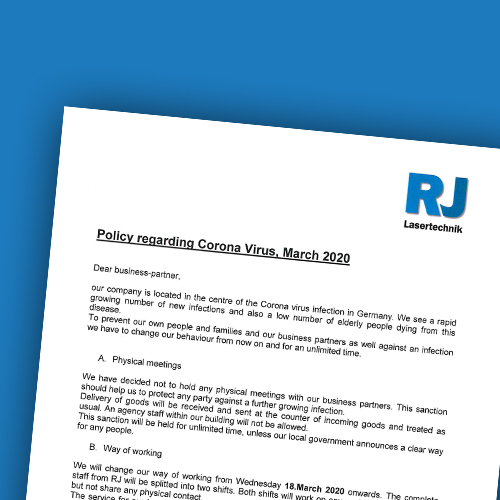 RJ Lasertechnik - Policy regarding Corona Virus